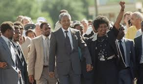 Mandela at his prison release